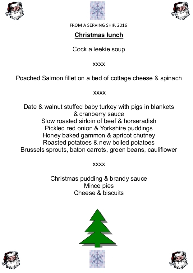 Gold Rover's Final Christmas Menu, 2016